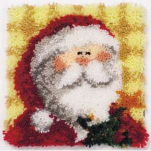 MCG Textiles 12x12 Latch Hook Kit: Ho Ho Santa Pillow