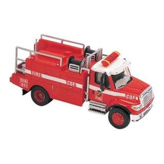 Boley HO Scale International 7000 2 Axle Brush Fire Truck   Red/White
