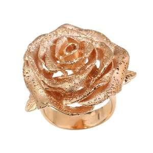 Italian Sterling Silver Fancy Rose Gold Plated Flower Ring