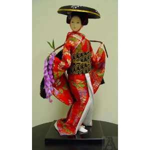 Silk Kimono Japanese Geisha Girl Doll Art Statue Home