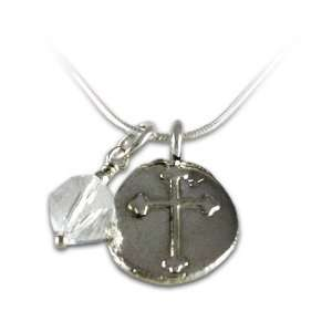 Stamped Round Fleur De Lis Cross and Swavroski Crystal Charm Necklace
