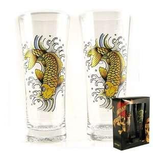 Don Ed Hardy Gold Koi Fish Flared High Ball Glass Set
