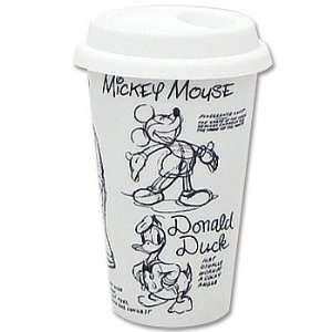Walt Disney Sketchbook Porcelain Cup   10 oz White Classic