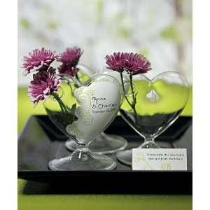 Miniature Clear Blown Glass Heart Vase W8961 Quantity of 4