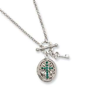 Dark Green Crystal Cross Locket 24in Necklace/Mixed Metal Jewelry