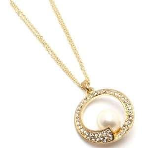 PEARL JEWELRY   Multi Strand Crystal Stud Gold Tone Cream Pearl Charm