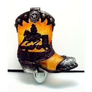 Cowboy Art Decor Night Lamp Night Light Boot #W39062