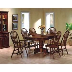 oak finish wood pedestal dining table set Furniture & Decor