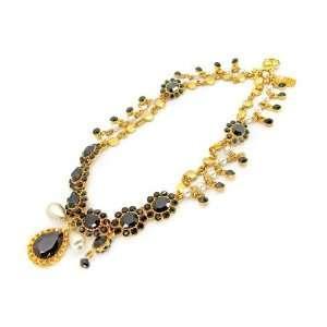 Otazu Gold Tone Charm Necklace Pearl & Jet Black Swarov Jewelry