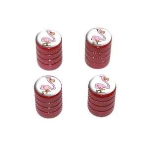 Pink Flamingo   Tire Rim Wheel Valve Stem Caps   Red