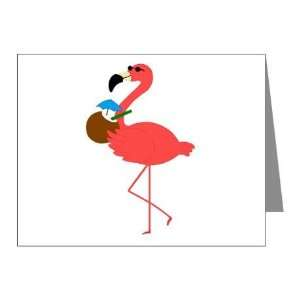Pink Flamingo Bird with a Coconut Drink Note Card (Set of 10) 4.25 X