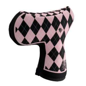 Womens Pink Golf Tees Argyle Blade Putter Cover by BeeJo