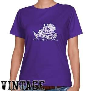 TCU Horned Frogs Ladies Purple Distressed Logo Vintage Classic Fit T