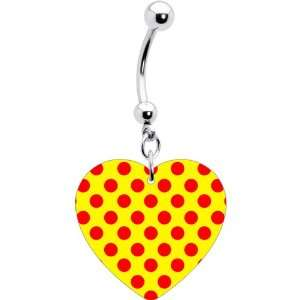 Yellow Red Polka Dot Heart Belly Ring Jewelry