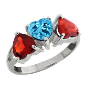 80 Ct Heart Shape Swiss Blue Topaz and Red Garnet 18k White Gold Ring
