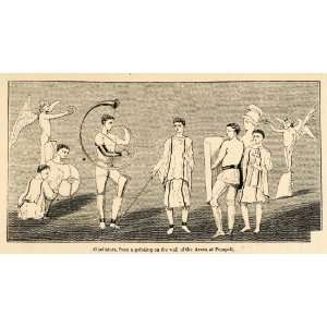1871 Woodcut Roman Gladiators Arena Pompeii Italy