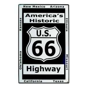 Metal Tin Sign ~ Historic Route 66 ~ Approx 17 x 12 Inches