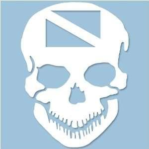 Scuba Skull Vinyl Decal Whie, 5.5 x 8 Spors