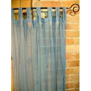 Blue Sheer 100% Cotton Gauze Tab Curtain, 44 inches X 104