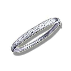 925 Silver & Swarovski White Simple Crystal Bangle Bracelet Jewelry