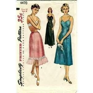 Simplicity 4470 Sewing Pattern Misses One piece Slip & Half Slip Size
