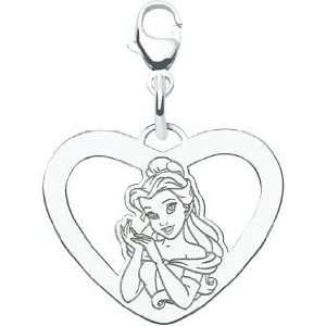 Sterling Silver Disney Princess Belle Heart Lobster Clasp Charm
