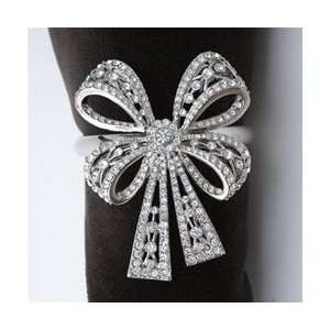 Bowtie Napkin Rings, White Swarovski Crystals Set/4