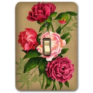 Red Rose Flower Floral Metal Light Switch Plate Cover Kitchen Home