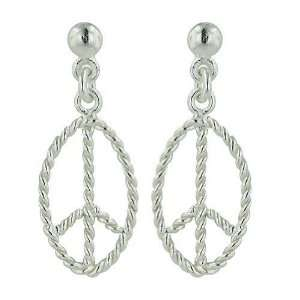 Sterling Silver Plain Open Twisted Marquise Peace Symbol E