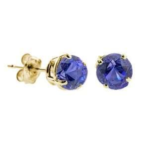 1/4 CT Tanzanite Stud Earrings 14k Yellow Gold (I1 I2