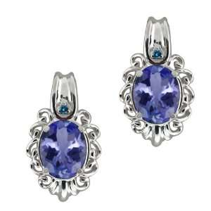 Oval Blue Tanzanite and Blue Diamond 10k White Gold Earrings Jewelry