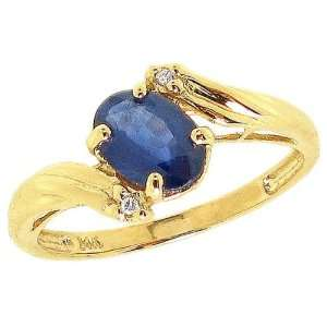 Gold Oval Gemstone and Diamond Engagement Ring Blue Sapphire, size8