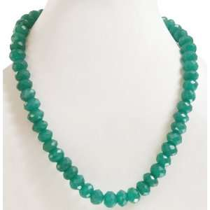 Designer Single Strand Natural Green Onyx Beaded Necklace Jewelry