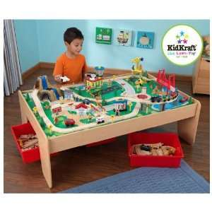 Train Table with 3 Bins and 120 Piece Waterfall Mountain Train Set