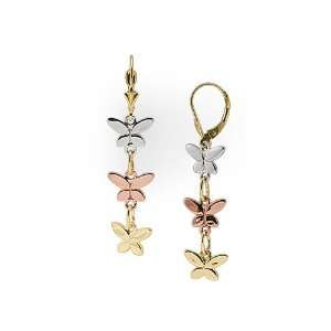 Butterfly Earrings in 14K Tri Color Gold Maui Divers of