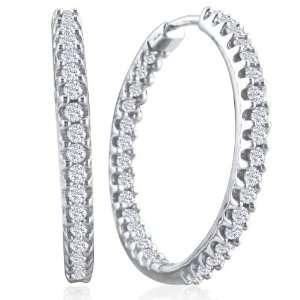 10K White Gold Inside Outside Diamond Hoop Earrings (1ct tw) Jewelry