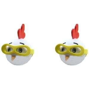 Chicken Face w/ Yellow Sunglasses Car Truck SUV Antenna Topper   2PK