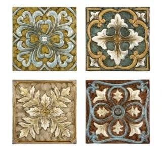 IMAX Blue Quarter Medallion Wall Panels, Set of 4: Home & Kitchen