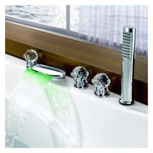 Color Changing LED Tub Waterfall Faucet with Hand Shower