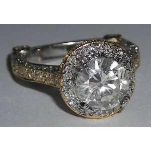 carat pave diamond engagement ring band set gold