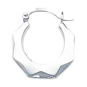 White gold Faceted Hoop Earrings Ear Jewelry New Jewelry