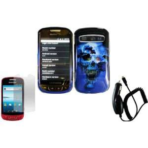 Blue Skull Hard Case Cover+LCD Screen Protector+Car Charger