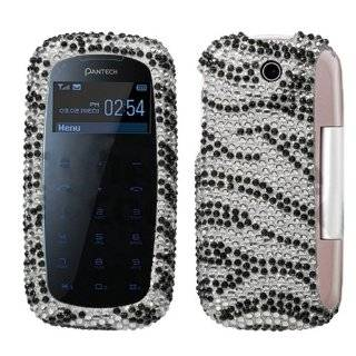 Black Zebra Skin Diamante Protector Cover for PANTECH P7000 Impact