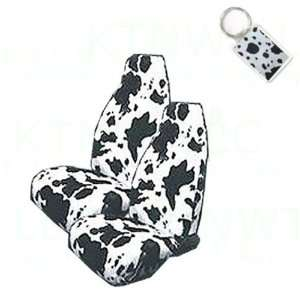 Fit Animal Print High Back Bucket Seat Covers and 1 Key Fob   COW
