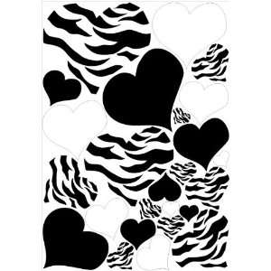 Hearts Zebra print, Black, and White Wall Stickers / Decals / Decor