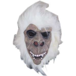 White Gorilla Ape Mask with Hair Costume Accessory Office
