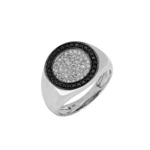 Mens Black & White Diamond Ring in 14k White Gold (TCW