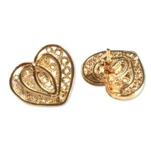 Gold plated filigree heart earrings, Light of Love Jewelry