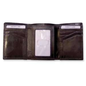 Brown Leather Trifold Wallet Jewelry