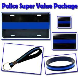 Thin Blue Line Police Package SUPER PACK Plate, Wristband